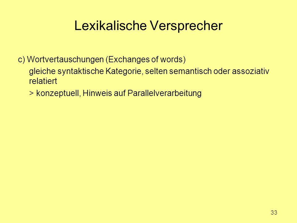 Lexikalische Versprecher c) Wortvertauschungen (Exchanges of words) gleiche syntaktische Kategorie, selten semantisch oder assoziativ relatiert > konz