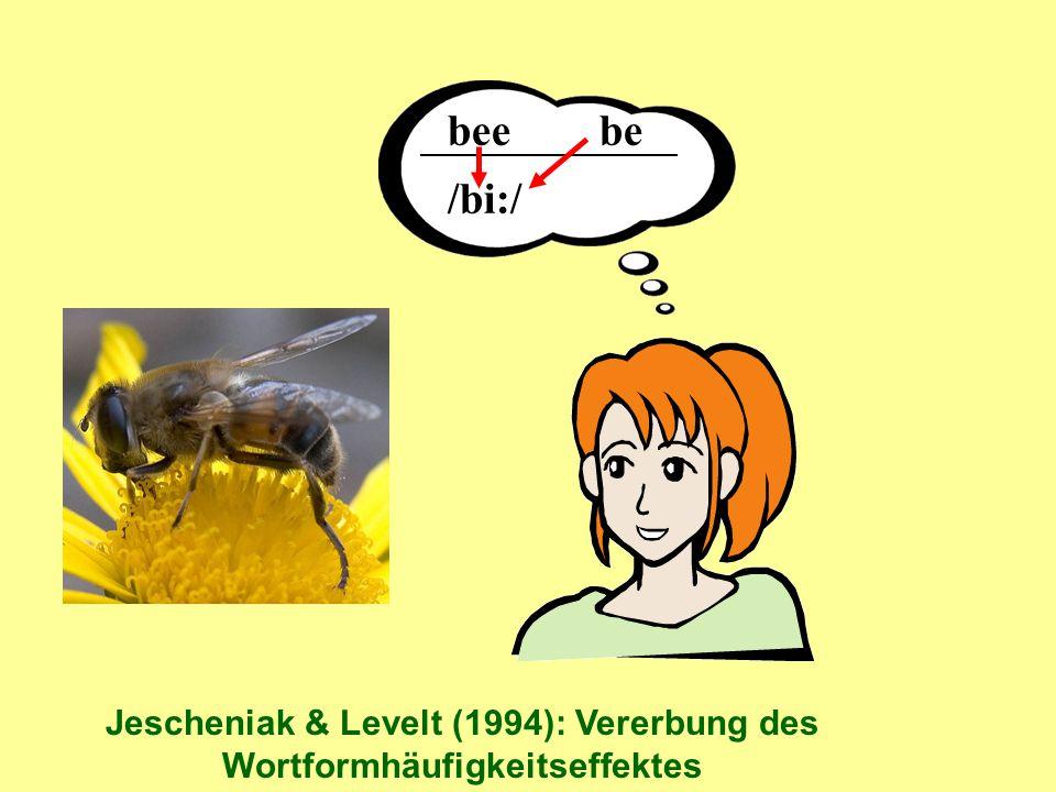bee be /bi:/ Jescheniak & Levelt (1994): Vererbung des Wortformhäufigkeitseffektes