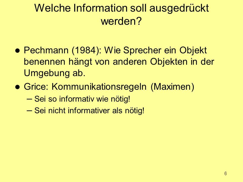 Welche Information soll ausgedrückt werden? l Pechmann (1984): Wie Sprecher ein Objekt benennen hängt von anderen Objekten in der Umgebung ab. l Grice