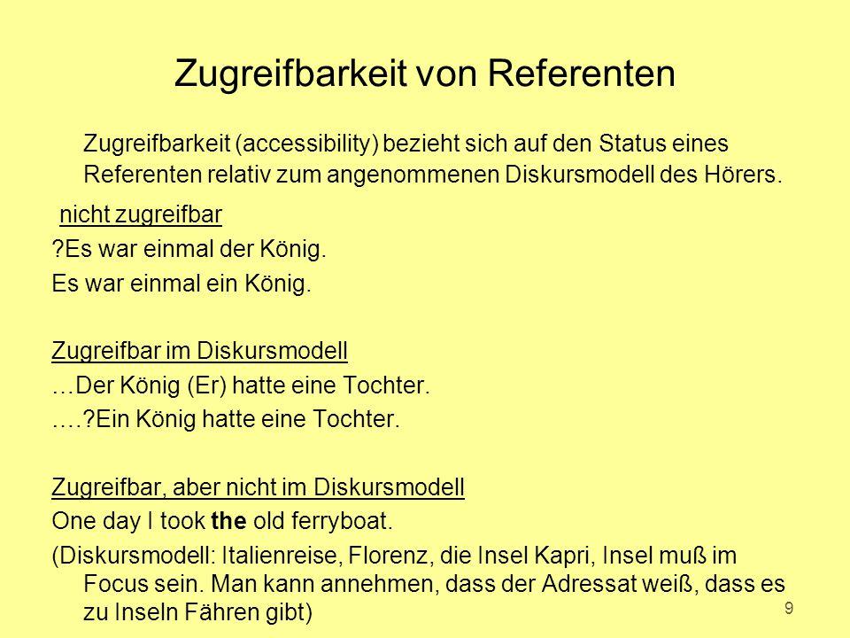 Zugreifbarkeit von Referenten Zugreifbarkeit (accessibility) bezieht sich auf den Status eines Referenten relativ zum angenommenen Diskursmodell des H
