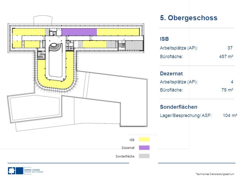 Technisches Dienstleistungszentrum 5. Obergeschoss ISB Arbeitsplätze (AP): 37 Bürofläche: 457 m² Dezernat Arbeitsplätze (AP): 4 Bürofläche: 79 m² Sond