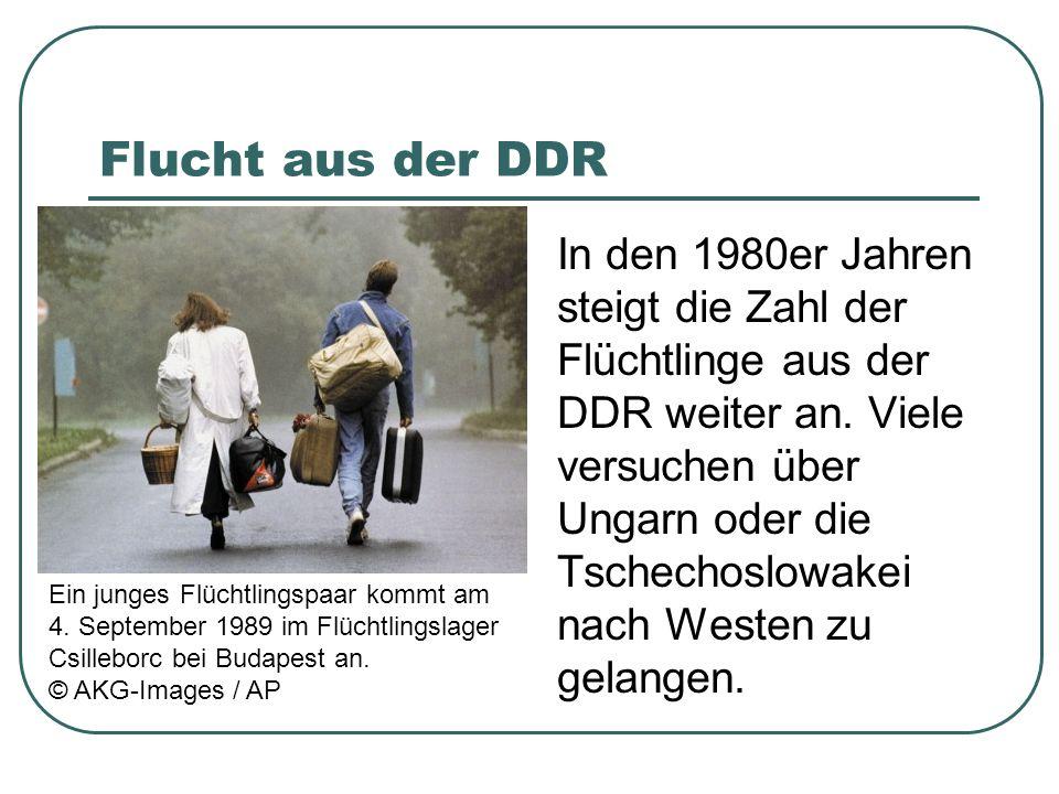 Flucht aus der DDR In den 1980er Jahren steigt die Zahl der Flüchtlinge aus der DDR weiter an. Viele versuchen über Ungarn oder die Tschechoslowakei n