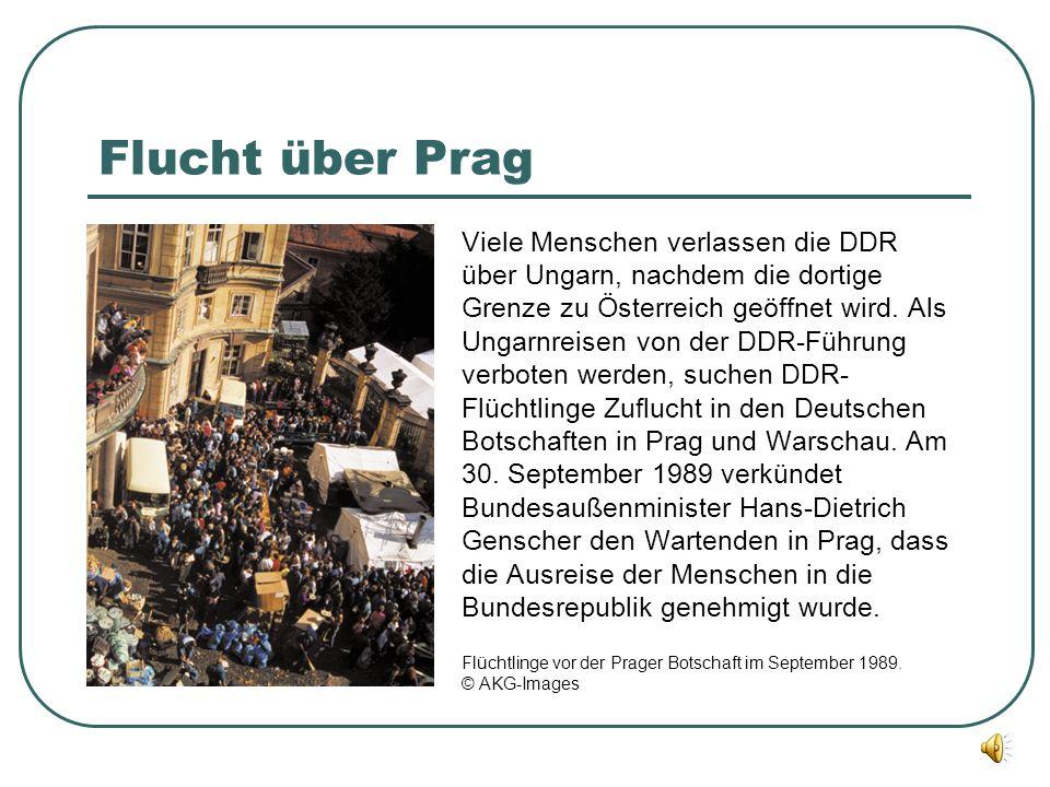 Flucht über Prag Viele Menschen verlassen die DDR über Ungarn, nachdem die dortige Grenze zu Österreich geöffnet wird. Als Ungarnreisen von der DDR-Fü