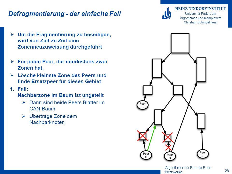 Algorithmen für Peer-to-Peer- Netzwerke 28 HEINZ NIXDORF INSTITUT Universität Paderborn Algorithmen und Komplexität Christian Schindelhauer Defragmentierung - der einfache Fall  Um die Fragmentierung zu beseitigen, wird von Zeit zu Zeit eine Zonenneuzuweisung durchgeführt  Für jeden Peer, der mindestens zwei Zonen hat,  Lösche kleinste Zone des Peers und finde Ersatzpeer für dieses Gebiet 1.Fall: Nachbarzone im Baum ist ungeteilt  Dann sind beide Peers Blätter im CAN-Baum  Übertrage Zone dem Nachbarknoten