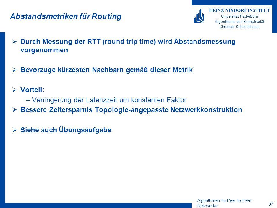Algorithmen für Peer-to-Peer- Netzwerke 37 HEINZ NIXDORF INSTITUT Universität Paderborn Algorithmen und Komplexität Christian Schindelhauer Abstandsmetriken für Routing  Durch Messung der RTT (round trip time) wird Abstandsmessung vorgenommen  Bevorzuge kürzesten Nachbarn gemäß dieser Metrik  Vorteil: –Verringerung der Latenzzeit um konstanten Faktor  Bessere Zeitersparnis Topologie-angepasste Netzwerkkonstruktion  Siehe auch Übungsaufgabe