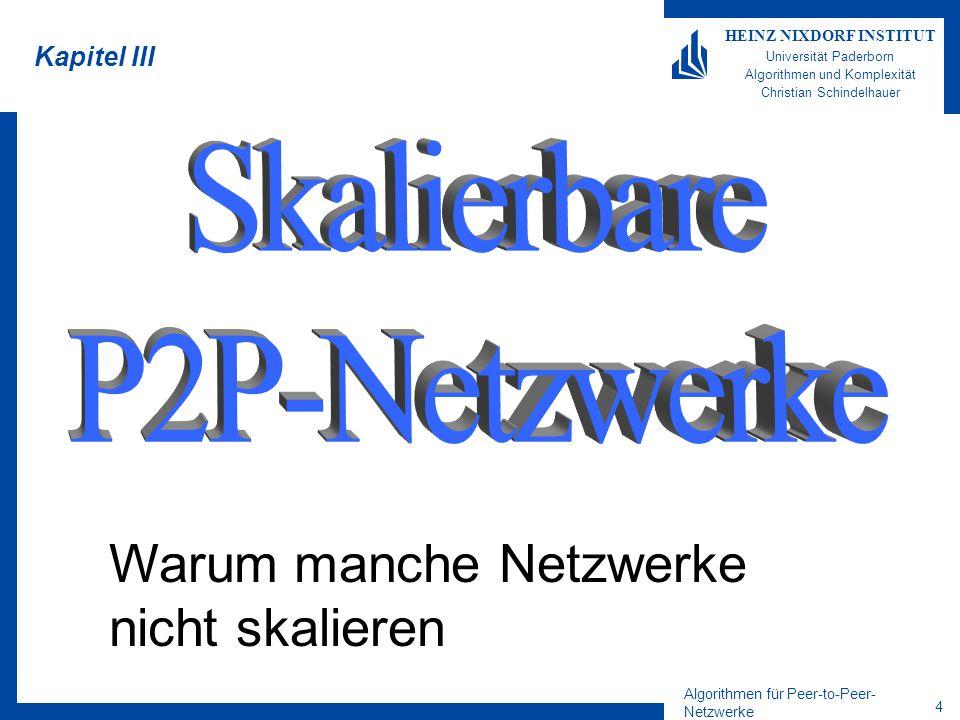 Algorithmen für Peer-to-Peer- Netzwerke 4 HEINZ NIXDORF INSTITUT Universität Paderborn Algorithmen und Komplexität Christian Schindelhauer Kapitel III Warum manche Netzwerke nicht skalieren