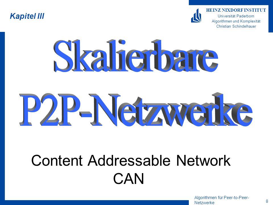 Algorithmen für Peer-to-Peer- Netzwerke 8 HEINZ NIXDORF INSTITUT Universität Paderborn Algorithmen und Komplexität Christian Schindelhauer Kapitel III Content Addressable Network CAN