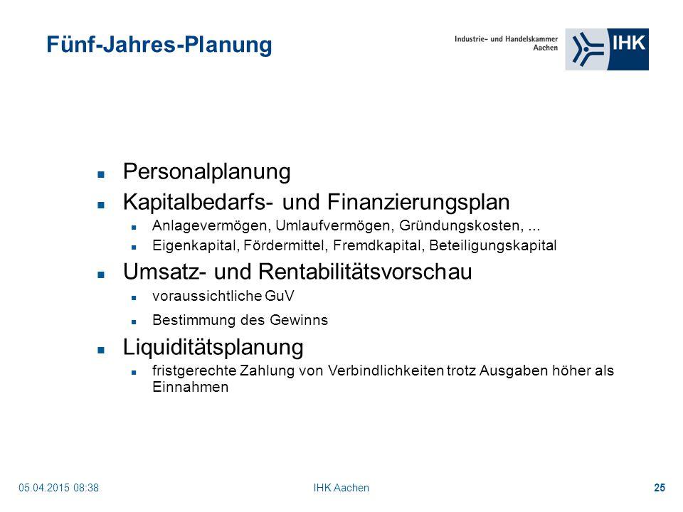 05.04.2015 08:40IHK Aachen25 Fünf-Jahres-Planung Personalplanung Kapitalbedarfs- und Finanzierungsplan Anlagevermögen, Umlaufvermögen, Gründungskosten,...