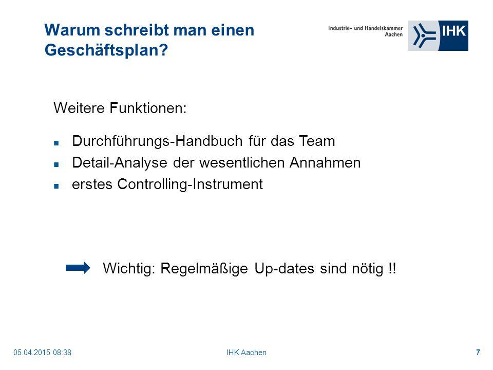 05.04.2015 08:40IHK Aachen7 Warum schreibt man einen Geschäftsplan.