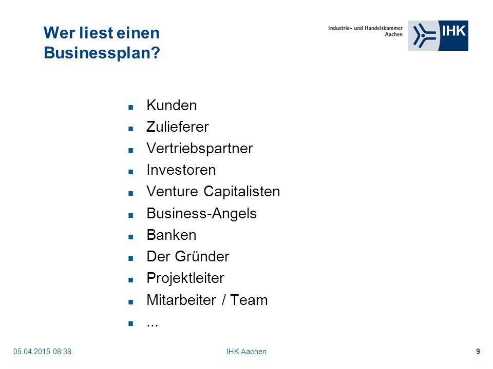05.04.2015 08:40IHK Aachen9 Wer liest einen Businessplan.