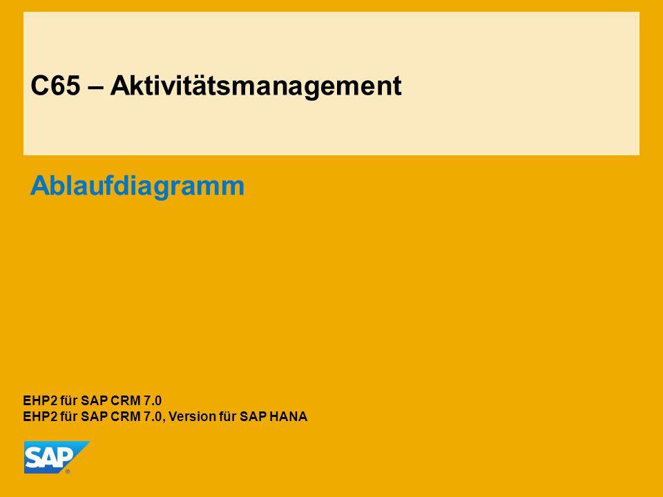 C65 – Aktivitätsmanagement Ablaufdiagramm EHP2 für SAP CRM 7.0 EHP2 für SAP CRM 7.0, Version für SAP HANA