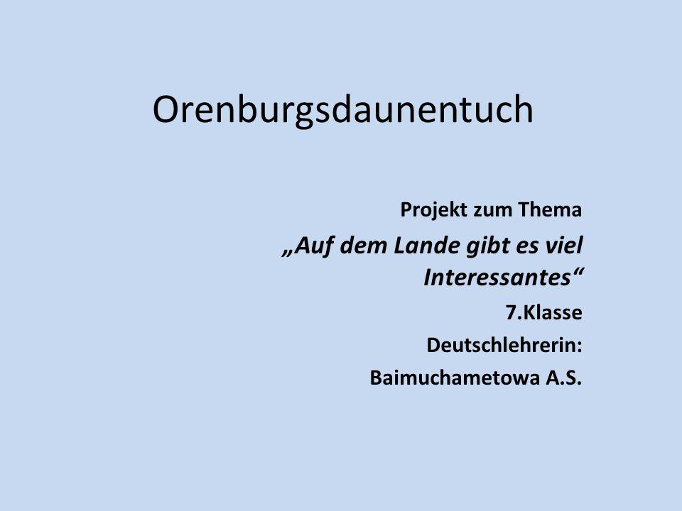 """Orenburgsdaunentuch Projekt zum Thema """"Auf dem Lande gibt es viel Interessantes 7.Klasse Deutschlehrerin: Baimuchametowa A.S."""