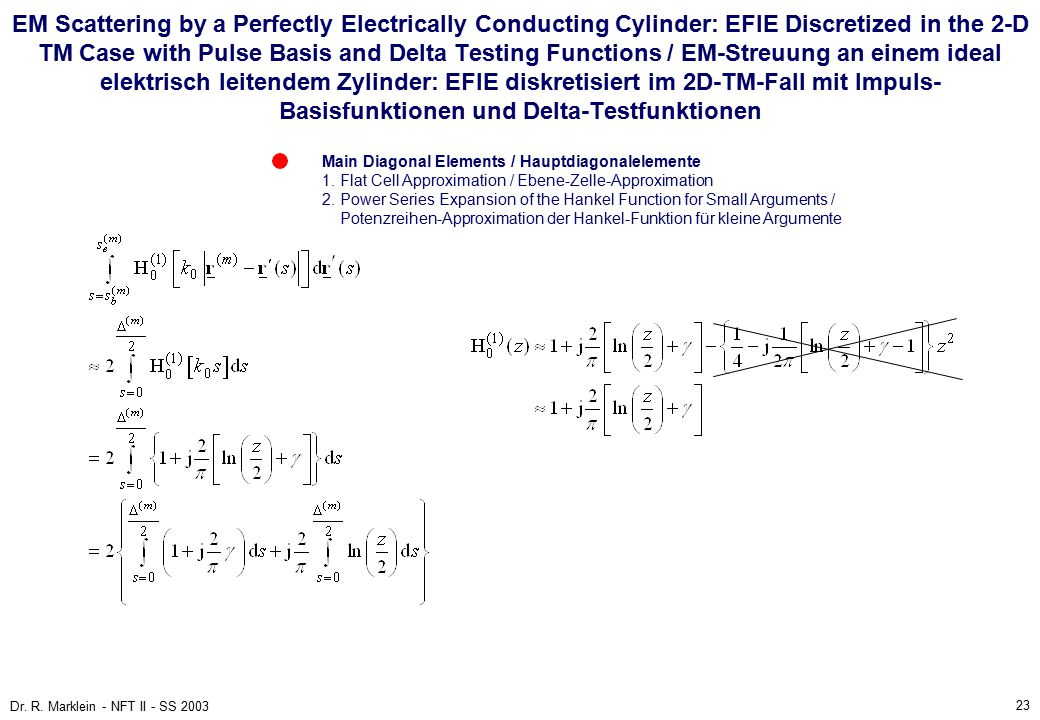 23 Dr. R. Marklein - NFT II - SS 2003 EM Scattering by a Perfectly Electrically Conducting Cylinder: EFIE Discretized in the 2-D TM Case with Pulse Ba