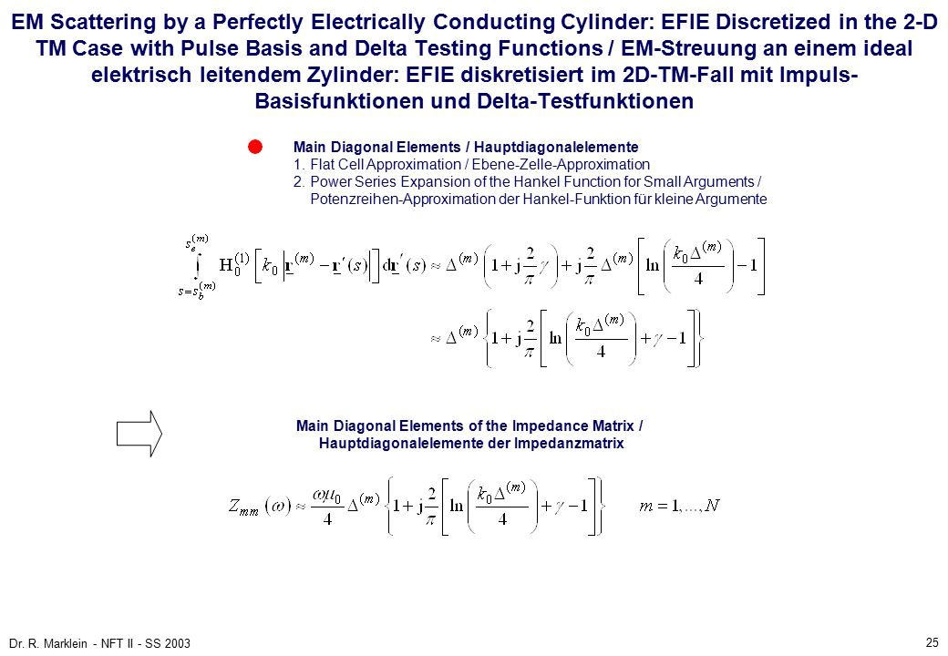 25 Dr. R. Marklein - NFT II - SS 2003 EM Scattering by a Perfectly Electrically Conducting Cylinder: EFIE Discretized in the 2-D TM Case with Pulse Ba