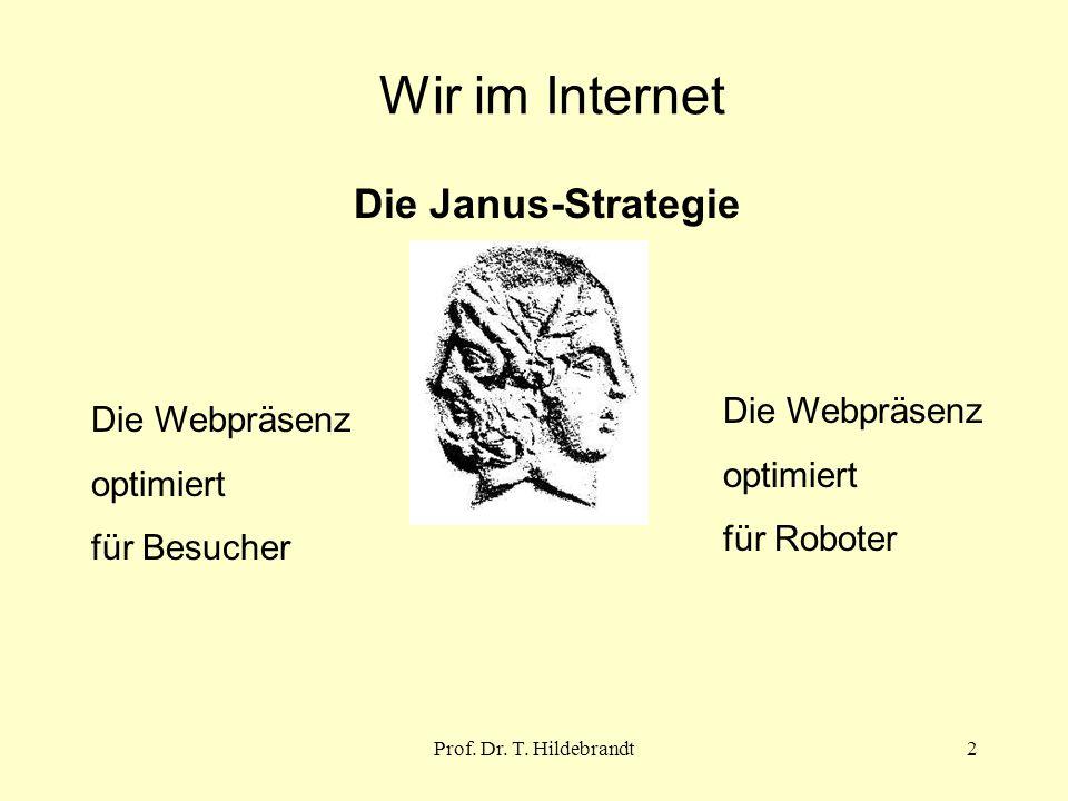 Wir im Internet Die Janus-Strategie Die Webpräsenz optimiert für Besucher Die Webpräsenz optimiert für Roboter 2Prof.