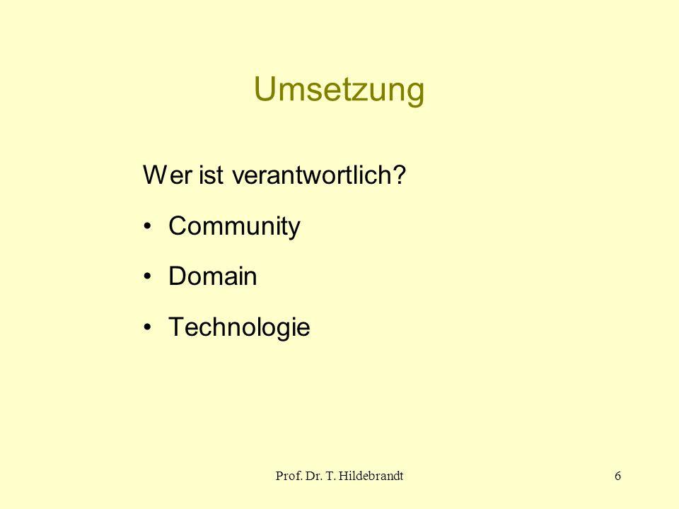 Umsetzung Wer ist verantwortlich Community Domain Technologie 6Prof. Dr. T. Hildebrandt