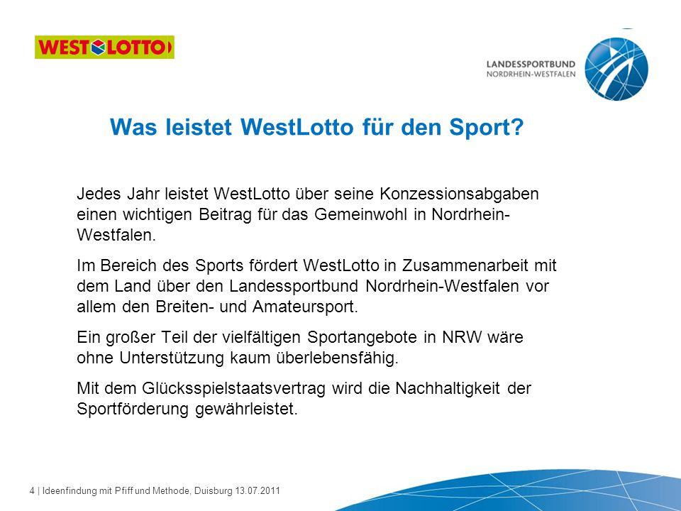 5 | Ideenfindung mit Pfiff und Methode, Duisburg 13.07.2011 Im Rahmen seiner Tätigkeiten wird der Landessportbund durch seinen Kooperationspartner WestLotto unterstützt.