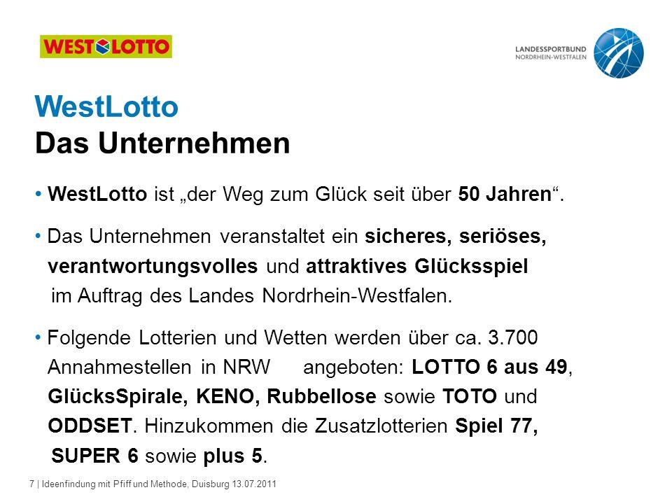 8 | Ideenfindung mit Pfiff und Methode, Duisburg 13.07.2011 WestLotto Das Unternehmen Die Kunden können darauf vertrauen, dass WestLotto immer im gesetzlichen Rahmen bleibt.