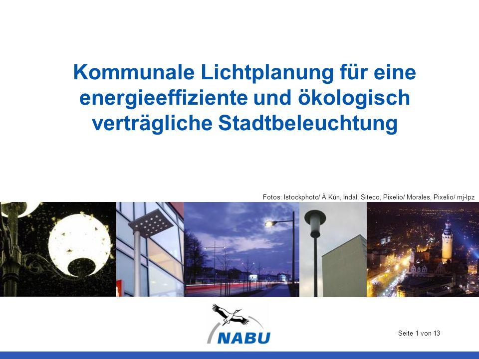 Seite 1 von 13 Kommunale Lichtplanung für eine energieeffiziente und ökologisch verträgliche Stadtbeleuchtung Fotos: Istockphoto/ Á.Kún, Indal, Siteco