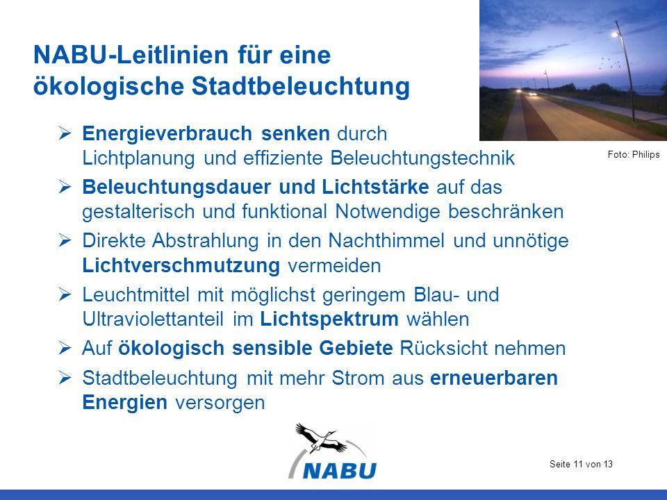 Seite 11 von 13 NABU-Leitlinien für eine ökologische Stadtbeleuchtung  Energieverbrauch senken durch Lichtplanung und effiziente Beleuchtungstechnik