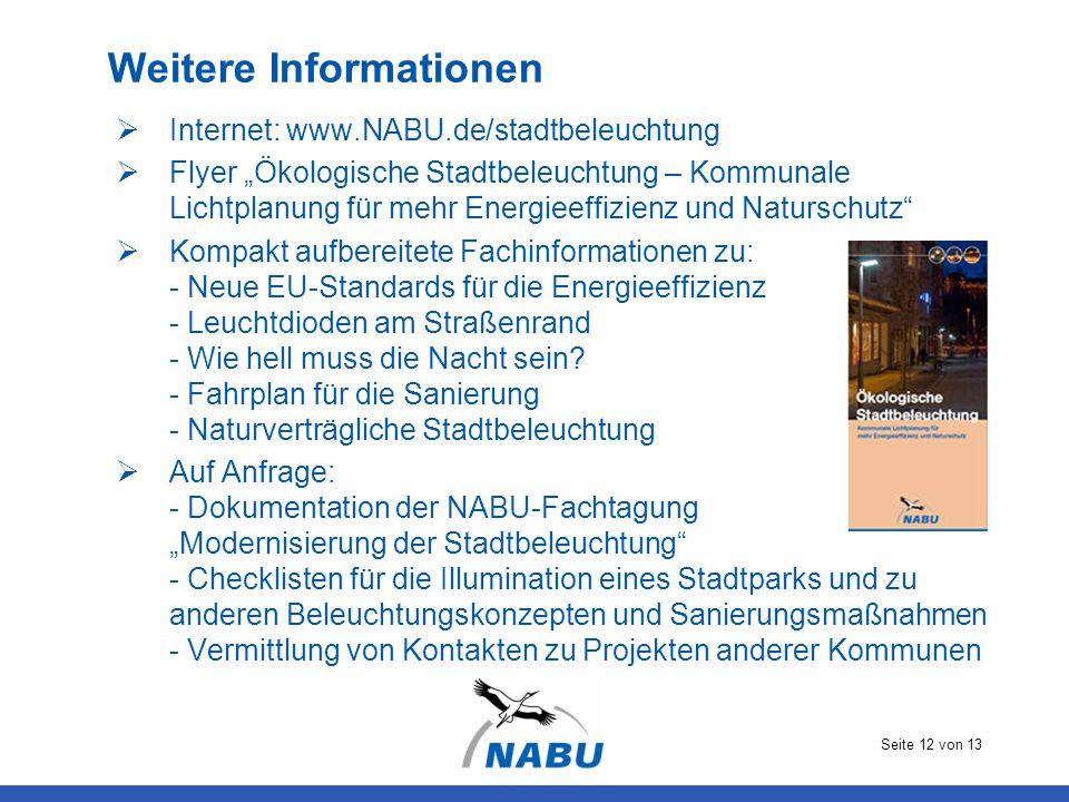 """Seite 12 von 13 Weitere Informationen  Internet: www.NABU.de/stadtbeleuchtung  Flyer """"Ökologische Stadtbeleuchtung – Kommunale Lichtplanung für mehr"""