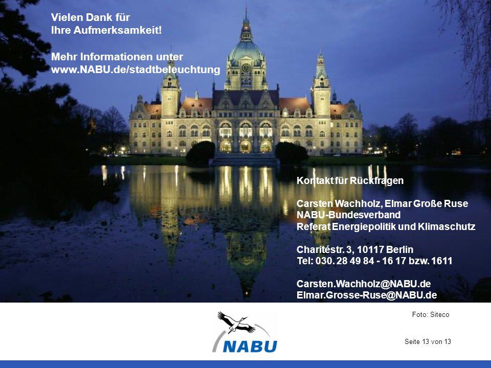 Seite 13 von 13 Vielen Dank für Ihre Aufmerksamkeit! Mehr Informationen unter www.NABU.de/stadtbeleuchtung Kontakt für Rückfragen Carsten Wachholz, El