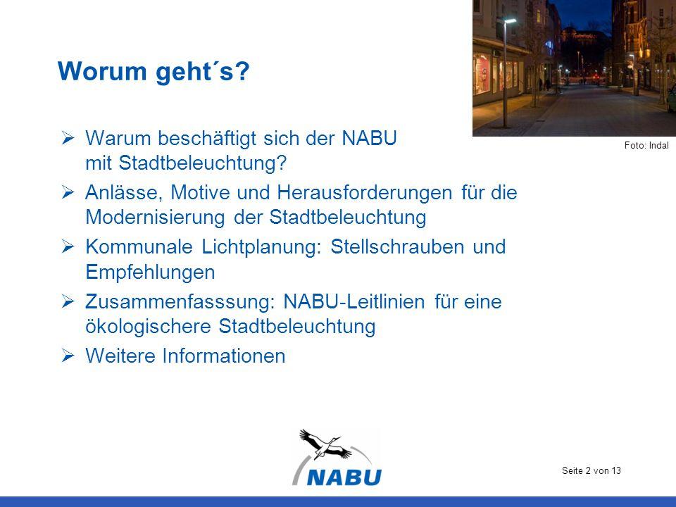 Seite 2 von 13 Worum geht´s?  Warum beschäftigt sich der NABU mit Stadtbeleuchtung?  Anlässe, Motive und Herausforderungen für die Modernisierung de