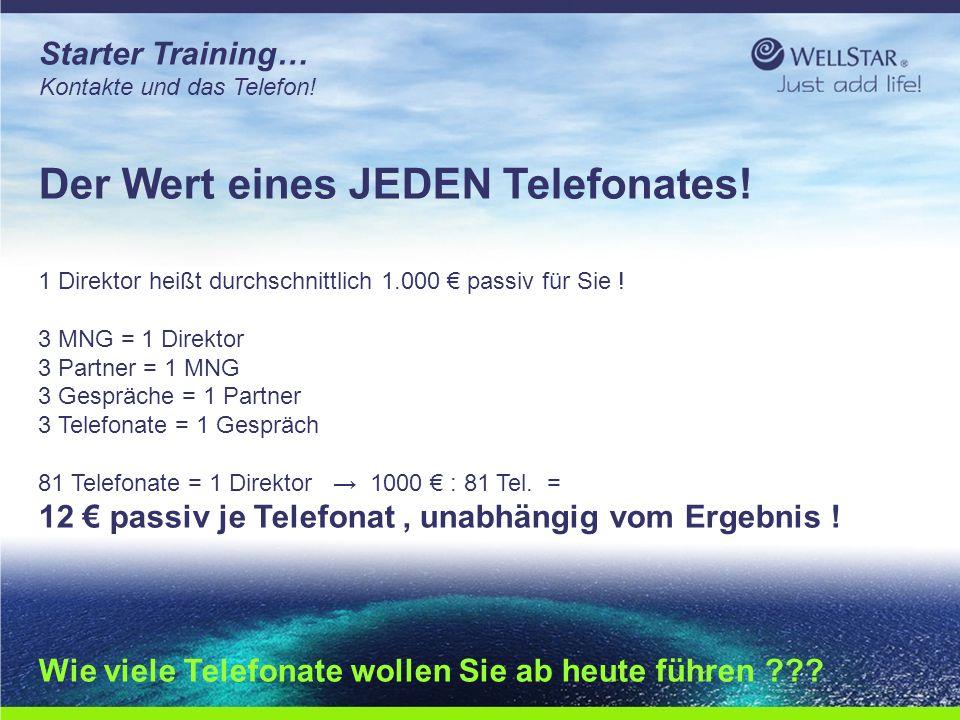 WellStarWellStar Starter Training… Kontakte und das Telefon! Der Wert eines JEDEN Telefonates! 1 Direktor heißt durchschnittlich 1.000 € passiv für Si