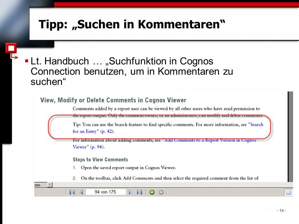 """- 14 - Tipp: """"Suchen in Kommentaren  Lt."""