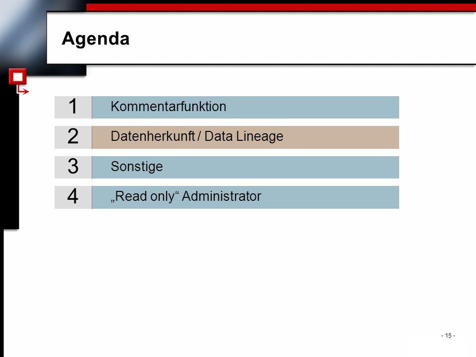 ". - 15 - Agenda Sonstige 3 Datenherkunft / Data Lineage 2 Kommentarfunktion 1 ""Read only Administrator 4"
