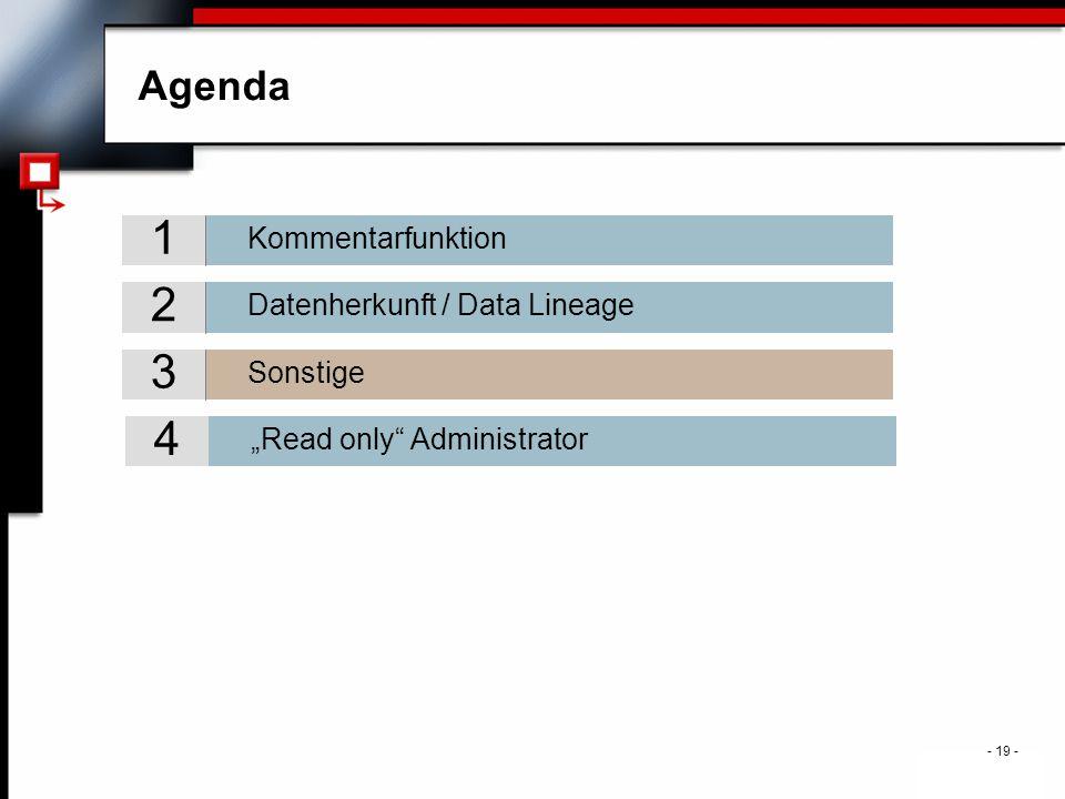 ". - 19 - Agenda Sonstige 3 Datenherkunft / Data Lineage 2 Kommentarfunktion 1 ""Read only Administrator 4"