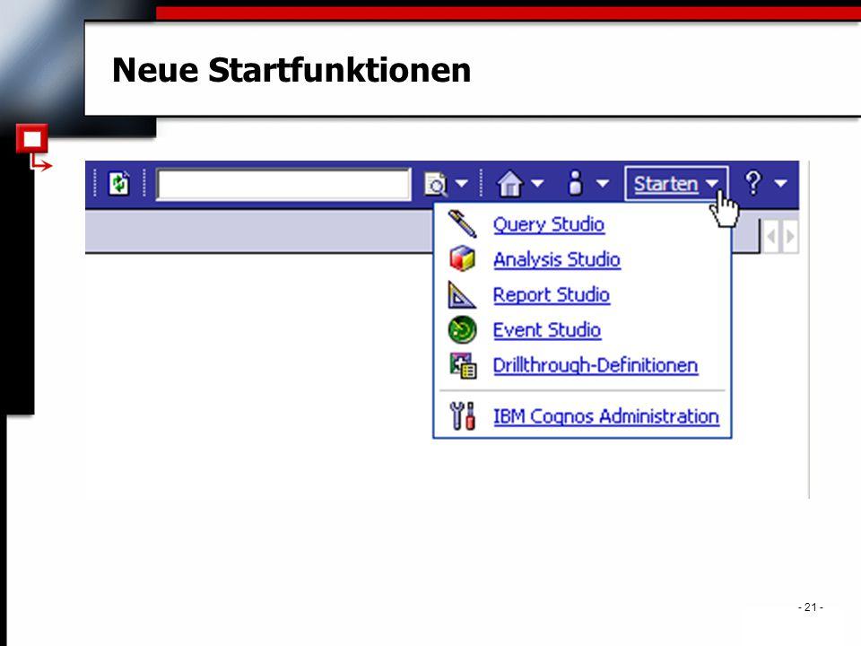 . - 21 - Neue Startfunktionen
