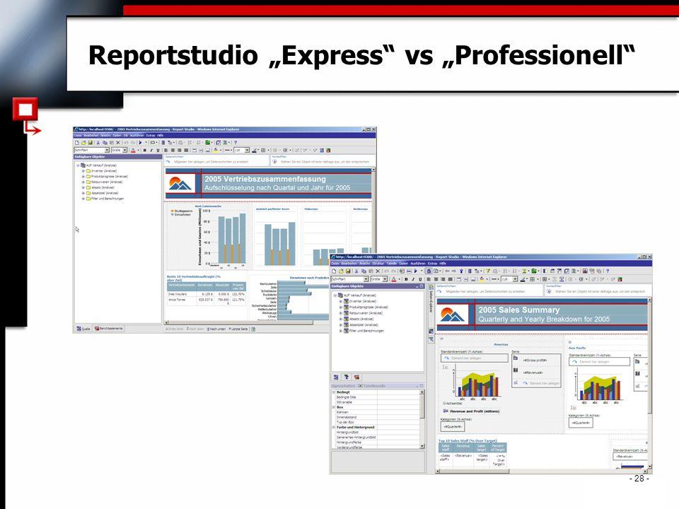 """. - 28 - Reportstudio """"Express vs """"Professionell"""