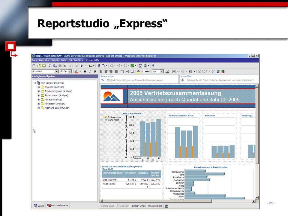 """. - 29 - Reportstudio """"Express"""