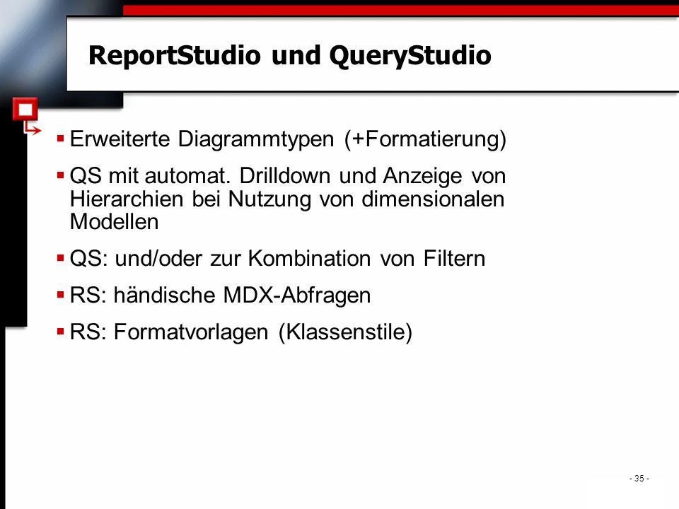- 35 - ReportStudio und QueryStudio  Erweiterte Diagrammtypen (+Formatierung)  QS mit automat.