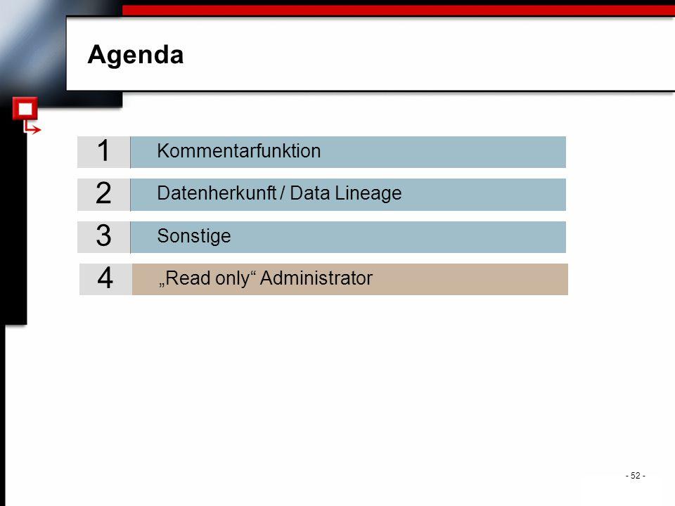 ". - 52 - Agenda Sonstige 3 Datenherkunft / Data Lineage 2 Kommentarfunktion 1 ""Read only Administrator 4"