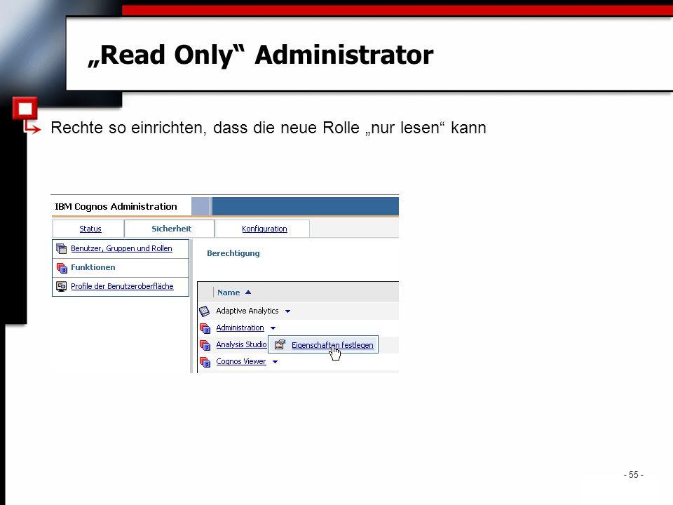 """. - 55 - """"Read Only Administrator Rechte so einrichten, dass die neue Rolle """"nur lesen kann"""