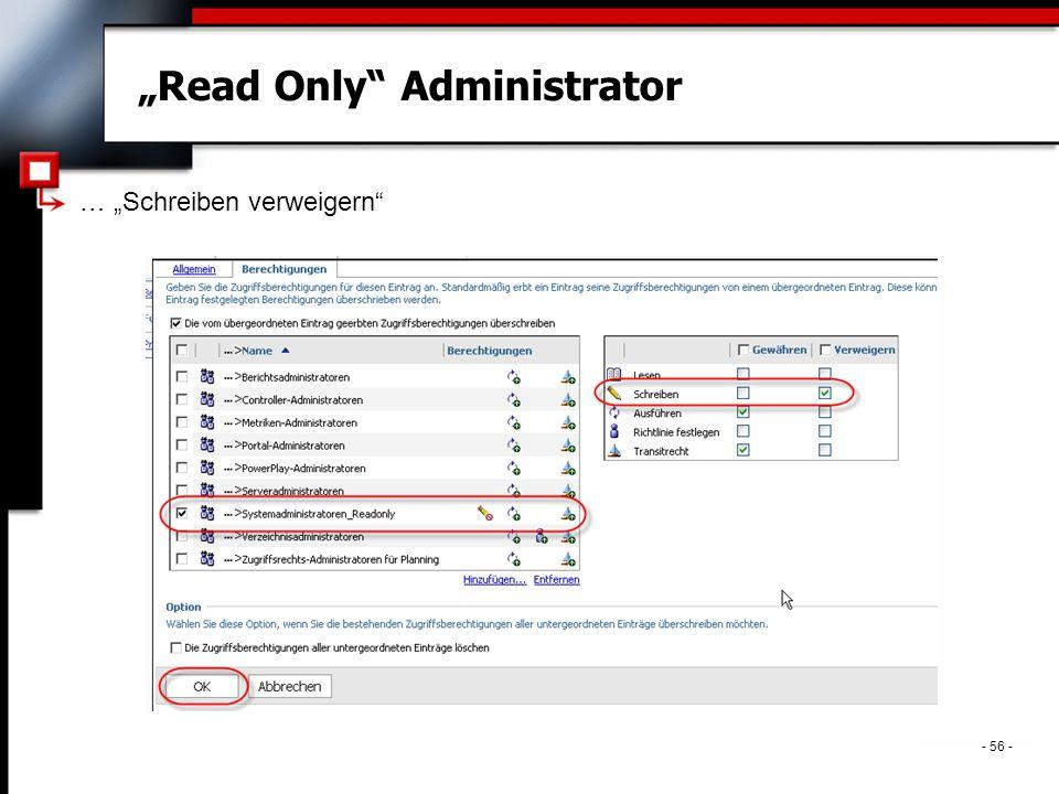 """. - 56 - """"Read Only Administrator … """"Schreiben verweigern"""