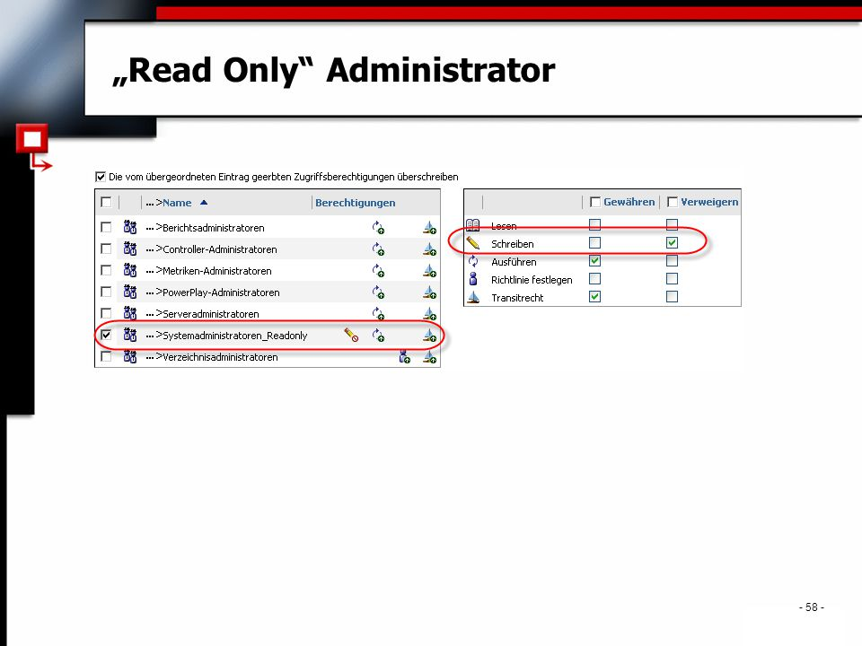 ". - 58 - ""Read Only Administrator"