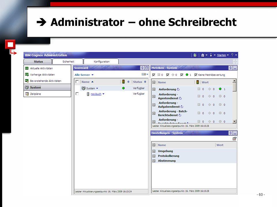 . - 60 -  Administrator – ohne Schreibrecht