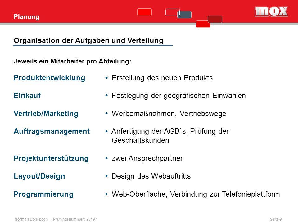 Norman Donsbach - Prüflingsnummer: 25197 Planung Jeweils ein Mitarbeiter pro Abteilung: Produktentwicklung Erstellung des neuen Produkts Einkauf Festl