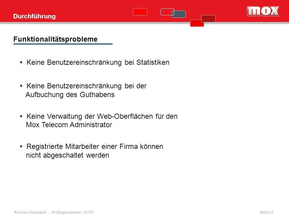 Norman Donsbach - Prüflingsnummer: 25197 Durchführung Funktionalitätsprobleme Keine Benutzereinschränkung bei Statistiken Keine Benutzereinschränkung