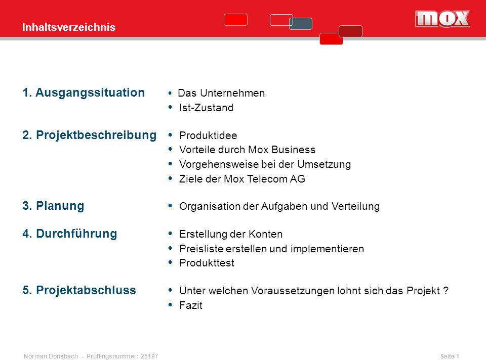 1. Ausgangssituation Das Unternehmen Ist-Zustand 2. Projektbeschreibung Produktidee Vorteile durch Mox Business Vorgehensweise bei der Umsetzung Ziele