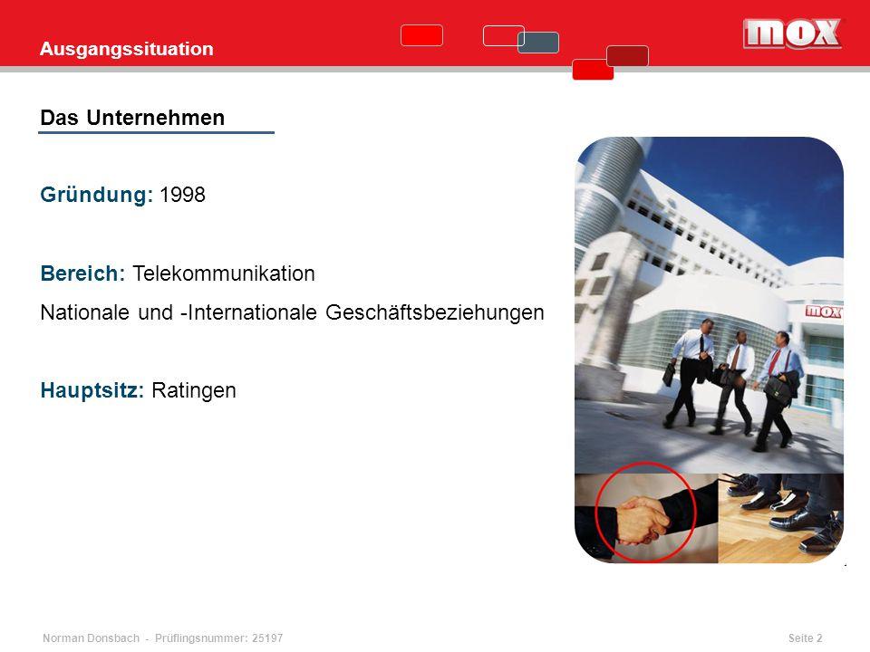Norman Donsbach - Prüflingsnummer: 25197 Ausgangssituation Das Unternehmen Gründung: 1998 Bereich: Telekommunikation Nationale und -Internationale Ges