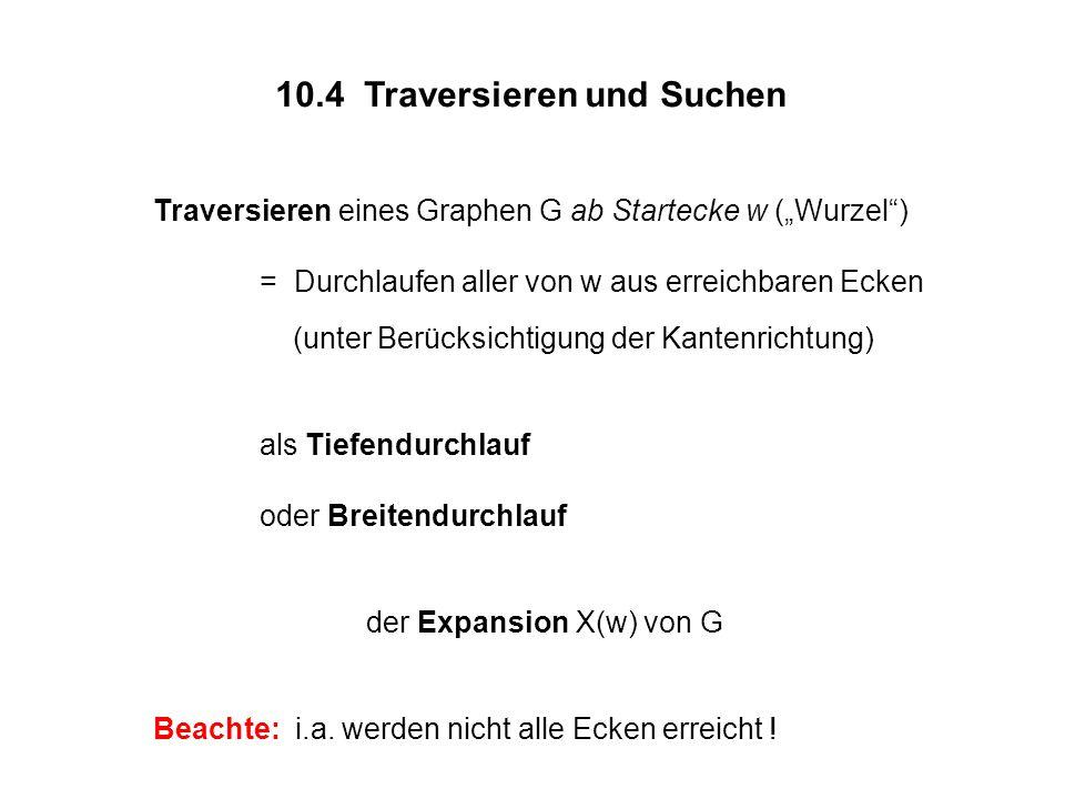 """10.4 Traversieren und Suchen Traversieren eines Graphen G ab Startecke w (""""Wurzel ) = Durchlaufen aller von w aus erreichbaren Ecken (unter Berücksichtigung der Kantenrichtung) als Tiefendurchlauf oder Breitendurchlauf der Expansion X(w) von G Beachte: i.a."""