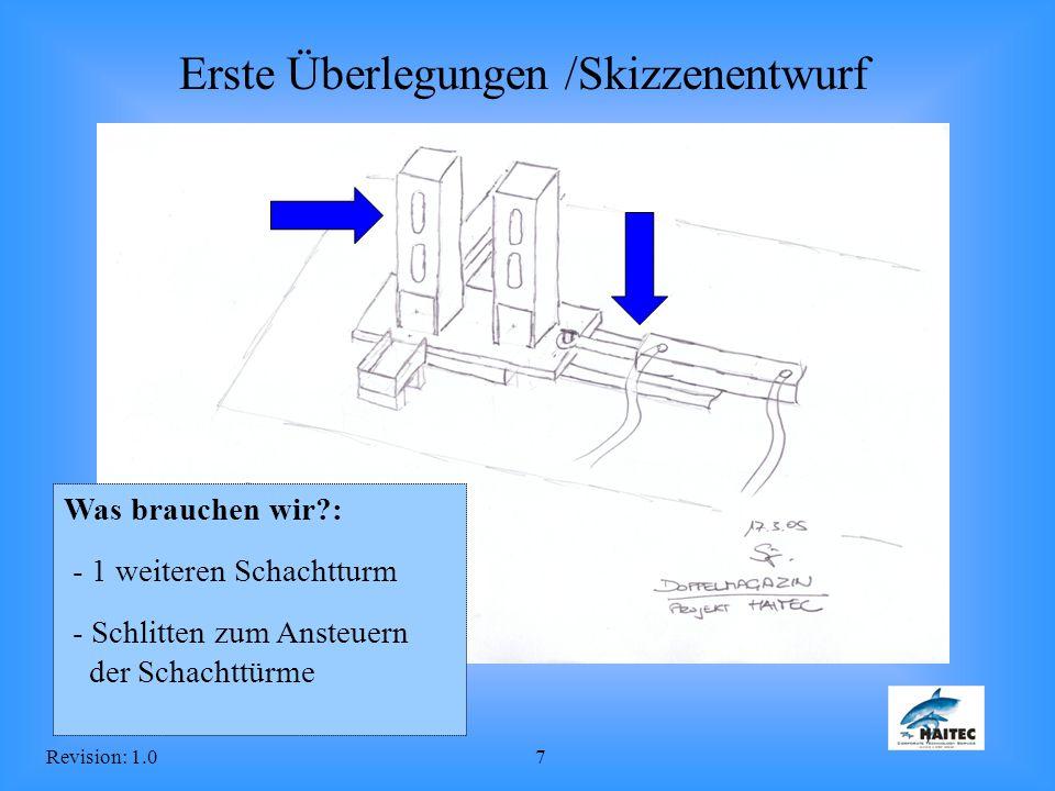 Revision: 1.07 Erste Überlegungen /Skizzenentwurf Was brauchen wir?: - 1 weiteren Schachtturm - Schlitten zum Ansteuern der Schachttürme