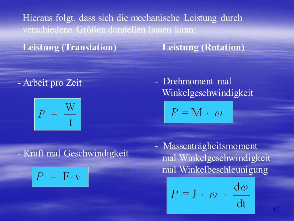 Hieraus folgt, dass sich die mechanische Leistung durch verschiedene Größen darstellen lassen kann: Leistung (Translation) Leistung (Rotation) - Arbei