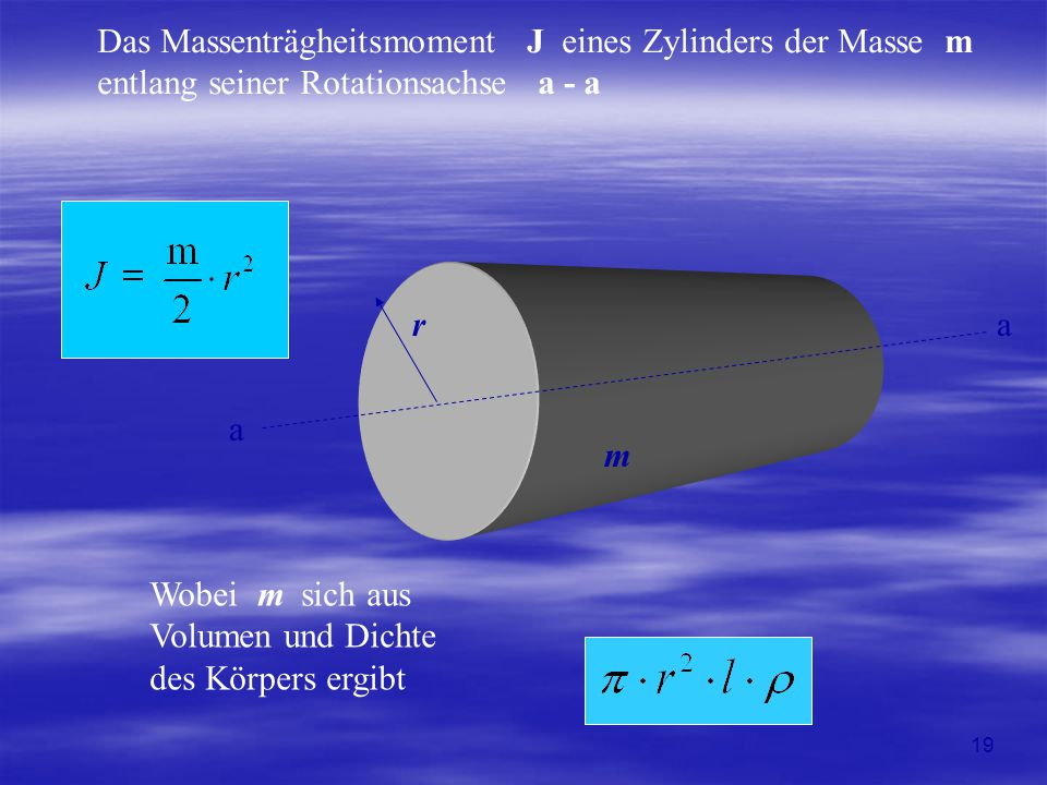 Das Massenträgheitsmoment J eines Zylinders der Masse m entlang seiner Rotationsachse a - a r m a a Wobei m sich aus Volumen und Dichte des Körpers er