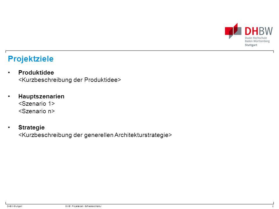 DHBW-Stuttgart/SWE1 Projektarbeit - Softwarearchitektur Projektziele Produktidee Hauptszenarien Strategie 2