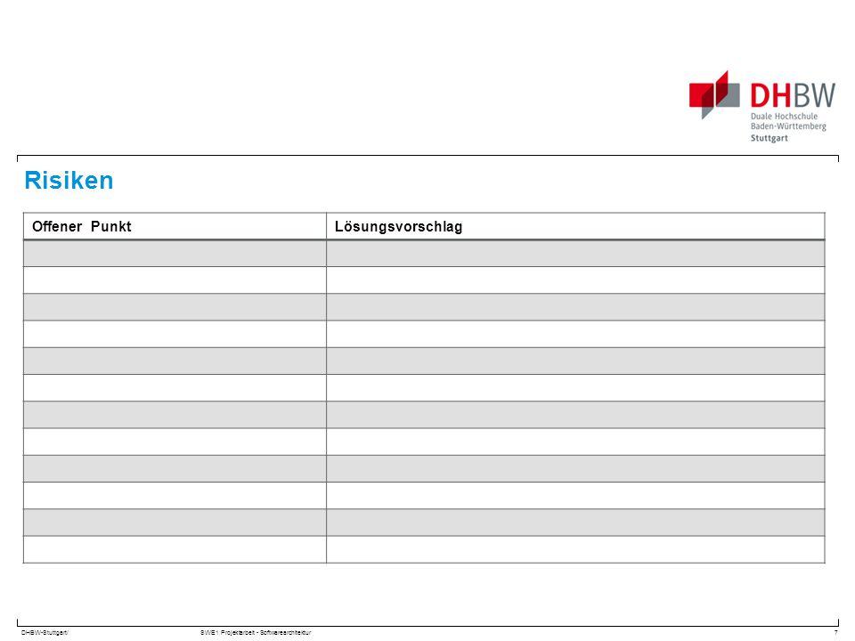DHBW-Stuttgart/SWE1 Projektarbeit - Softwarearchitektur Risiken 7 Offener PunktLösungsvorschlag